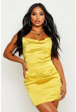 Chartreuse yellow Florence Satin Cowl Neck Bodycon Dress