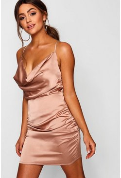 Mocha beige Florence Satin Cowl Neck Bodycon Dress