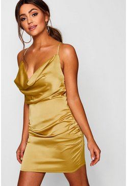 Mustard yellow Florence Satin Cowl Neck Bodycon Dress