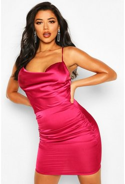 Raspberry pink Florence Satin Cowl Neck Bodycon Dress