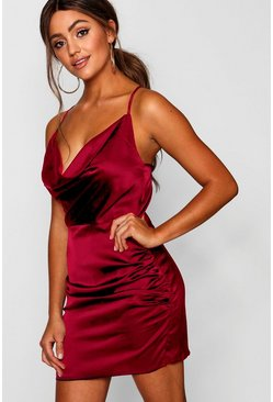 Red Florence Satin Cowl Neck Bodycon Dress