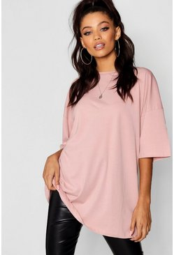 Baby pink pink Basic Washed Oversized T-Shirt