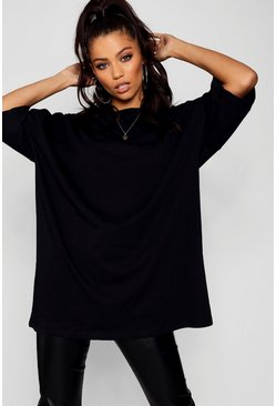 Black Basic Washed Oversized T-Shirt