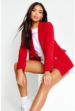 Berry red Double Breasted Boxy Military Blazer