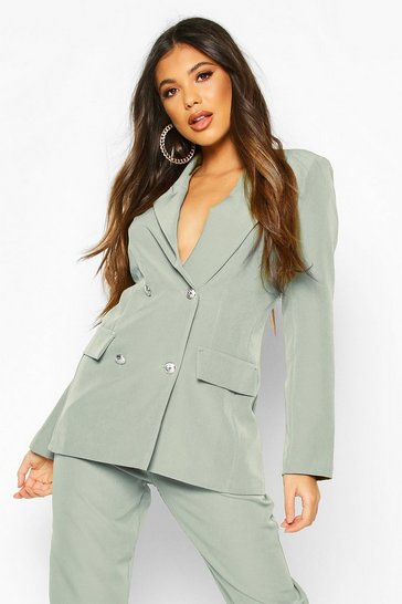 Sage green Double Breasted Boxy Military Blazer