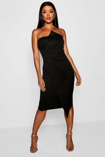 Black Zoey Bandeau Wrap Detail Midi Dress