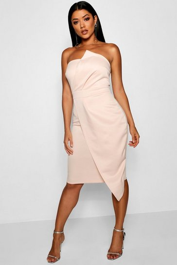 Blush Zoey Bandeau Wrap Detail Midi Dress