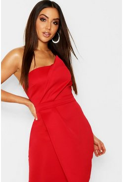 Red Zoey Bandeau Wrap Detail Midi Dress