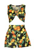 Black Twist Detail Orange Print Crop Short Co-ord alternative image