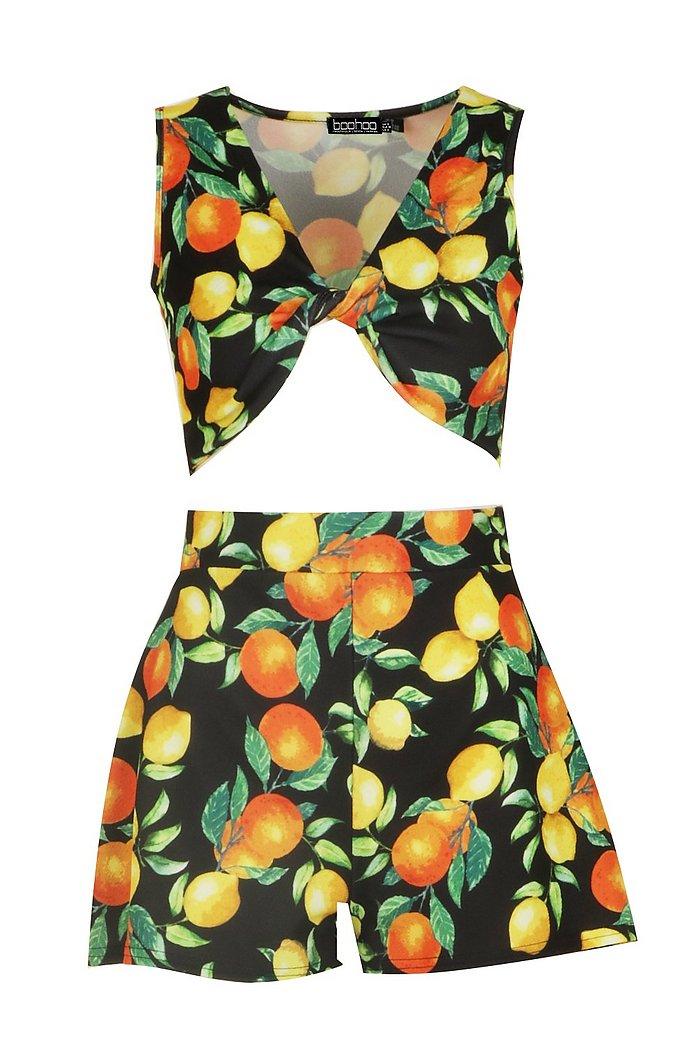 Twist Detail Orange Print Crop Short Co-ord