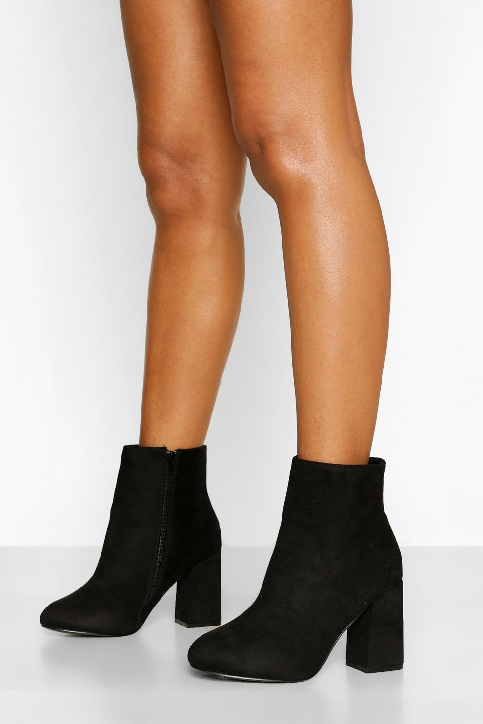 Wide Fit Block Heel Shoe Boots | boohoo SE