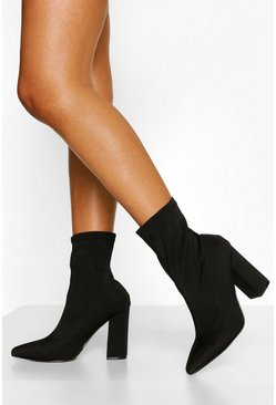 Wide Fit Block Heel Sock Boots, Black nero