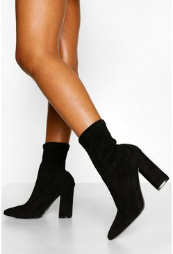 Black Wide Fit Block Heel Sock Boots