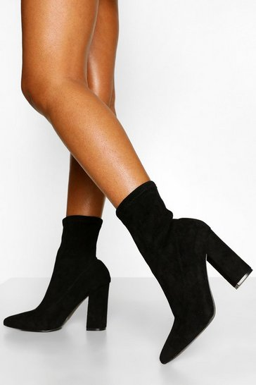 Black Wide Fit Block Heel Sock Boots