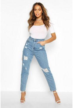 Mid blue Sophie High Waisted Distressed Mom Jeans
