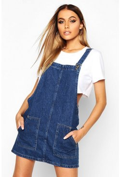 Mid blue blue Pocket Front Denim Pinafore