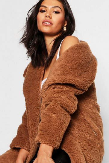 Brown Shawl Collar Teddy Faux Fur Jacket