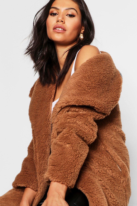 COATS & JACKETS Shawl Collar Teddy Faux Fur Jacket