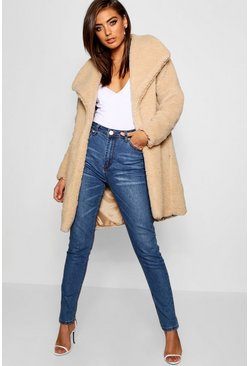 Stone beige Shawl Collar Teddy Faux Fur Jacket