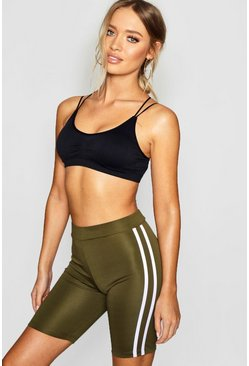 Khaki Fit Side Stripe Biker Shorts