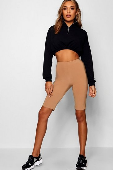 Camel beige Double Layer High Waist Cycling Shorts