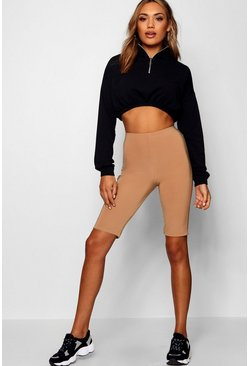 Camel beige Double Layer High Waist Biker Shorts