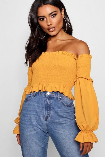 Mustard yellow Shirred Ruffle Hem Bardot Top