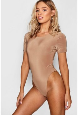 Camel beige Slinky Double Layer Short Sleeve Bodysuit