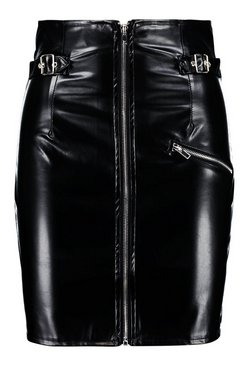 Black Leather Look High Waist Buckle Mini Skirt