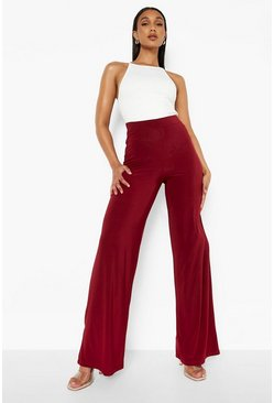 Berry red High Waist Slinky Wide Leg Trousers