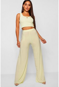 Lime High Waist Slinky Wide Leg Trousers