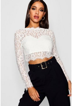 White Premium Lace Crop Top