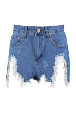 Mid blue Extreme Bum Rip Denim Short