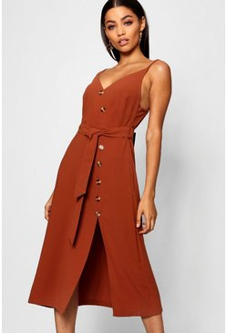 Chocolate brown Button Front Woven Cami Dress