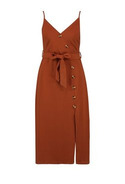 Chocolate Button Front Woven Cami Dress