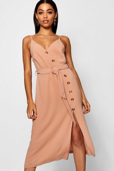 Nude Button Front Woven Cami Dress