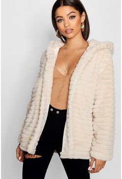 Cream white Hooded Faux Fur Coat