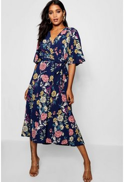 Navy Nancy Angel Sleeve Floral Wrap Midi Dress
