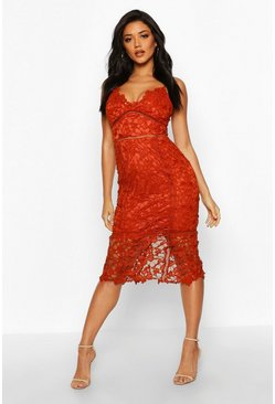 Rust orange Lace Panelled Open Back Midi Dress