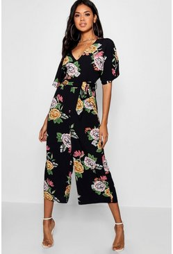 Black Large Floral Capped Sleeve Jumpsuit