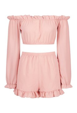 Blush Bardot Ruffle Detail Short Co-ord Set