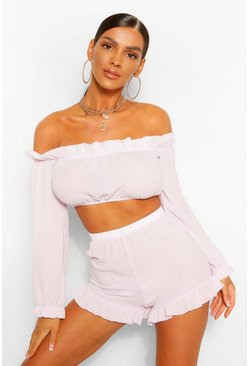 Lilac purple Off The Shoulder Ruffle Detail Short Two-Piece Set
