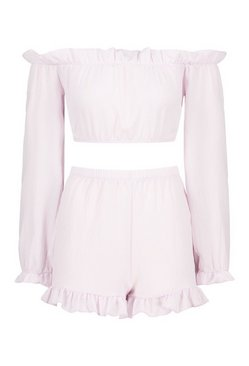 Lilac Bardot Ruffle Detail Short Co-ord Set
