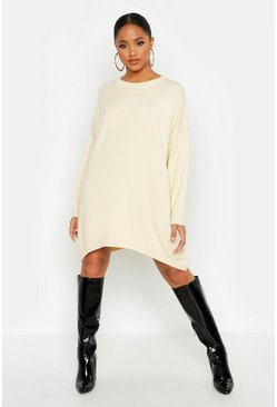 Cream Oversized Boyfriend Knitted Dress