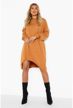 Mocha beige Oversized Boyfriend Knitted Dress