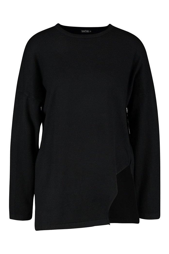 Oversize stickad tröja med slitsar i sidorna | boohoo SE