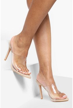 Nude Pointed Toe Clear Mule Heels