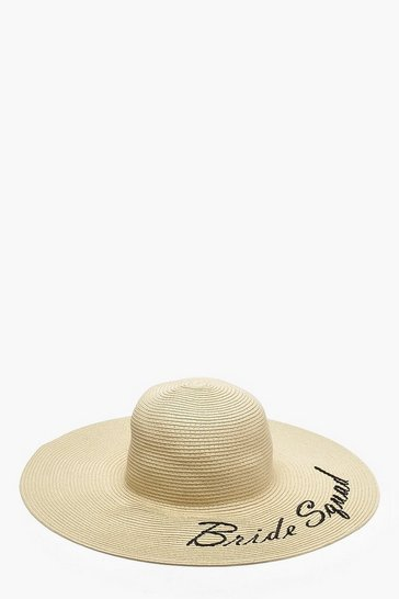 Cream white Bride Squad Slogan Straw Floppy Hat