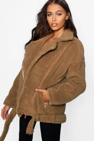 Brown Teddy Faux Fur Biker Jacket