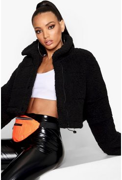 Black Crop Fleece Oversized Puffer Jacket